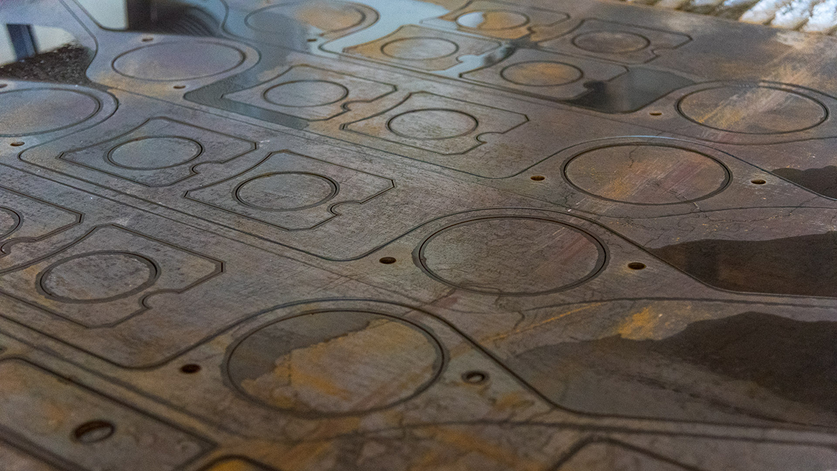 Waterjet cutting services and manufacturing of steel copper