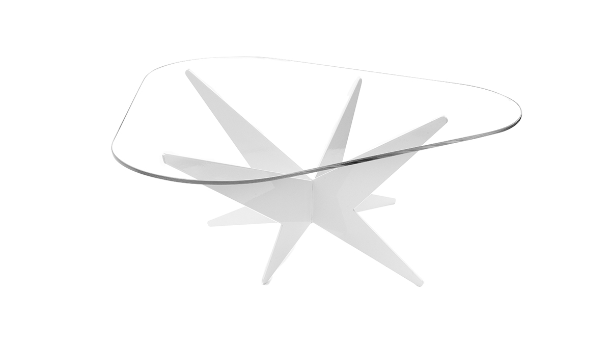 Elegant low table | Luxury design objects | Hand made in Italy | Lamberti Design - Tavolino basso da salotto in vetro e acciaio verniciato dal design moderno