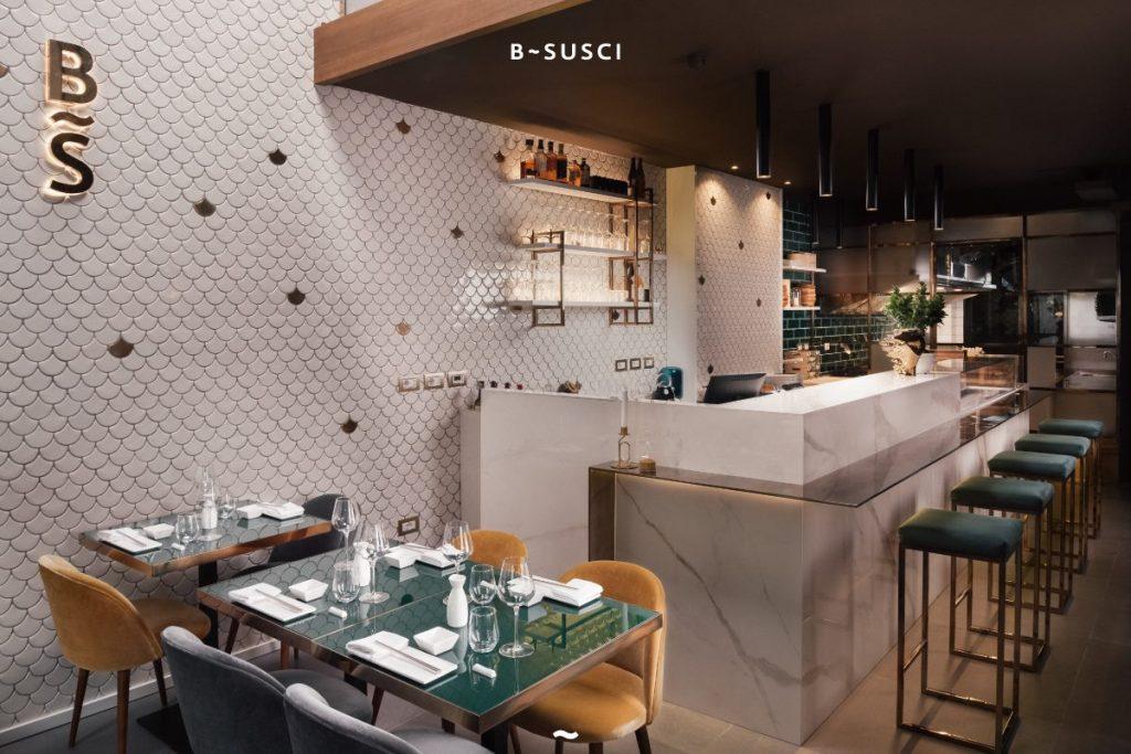 Arredamento ristoranti, sushi bar, hotel - finiture metalliche e taglio waterjet