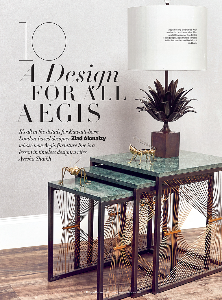 Arredo artigianale in metallo e marmo - Lamberti Design collezione AEGIS
