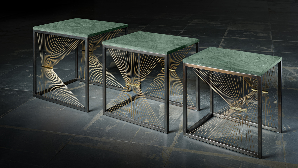 Luxury tables in marble, steel, brass and metal wires hand made in Italy - Lamberti - Tavolini design contemporaneo in marmo verde, ottone e acciaio annerito - Lamberti