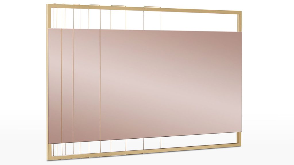 Luxury mirror in marble, steel, brass and metal wires hand made in Italy - Lamberti - Arredo design specchio contemporaneo - marmo, acciaio, ottone e trefoli metallici