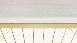 Consolle design moderno in marmo, acciaio ottone e trefoli dorati - Lamberti Design