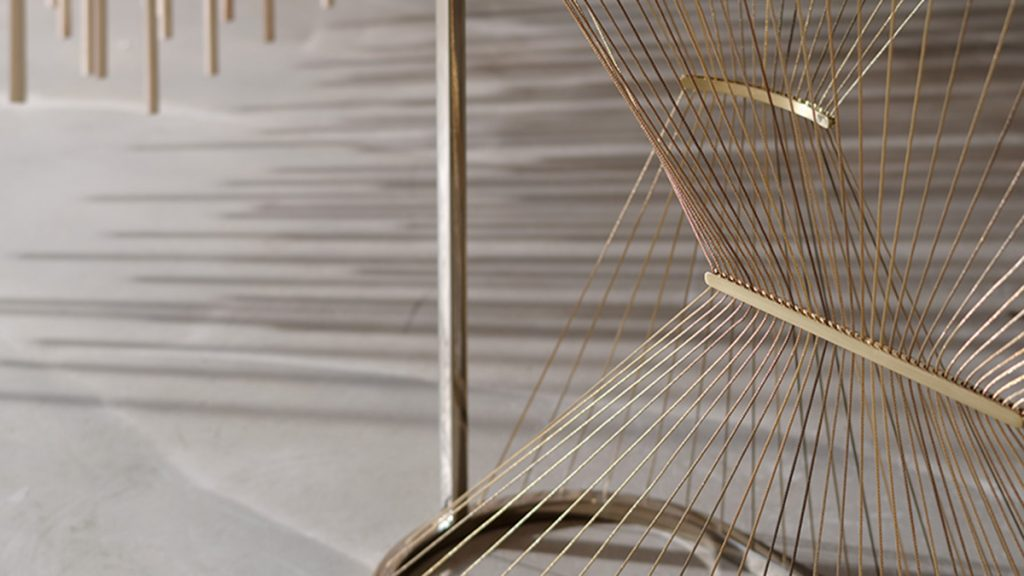Luxury console in marble, steel, brass and metal wires hand made in Italy - Lamberti - Consolle design moderno in marmo, acciaio ottone e trefoli dorati - Lamberti Design