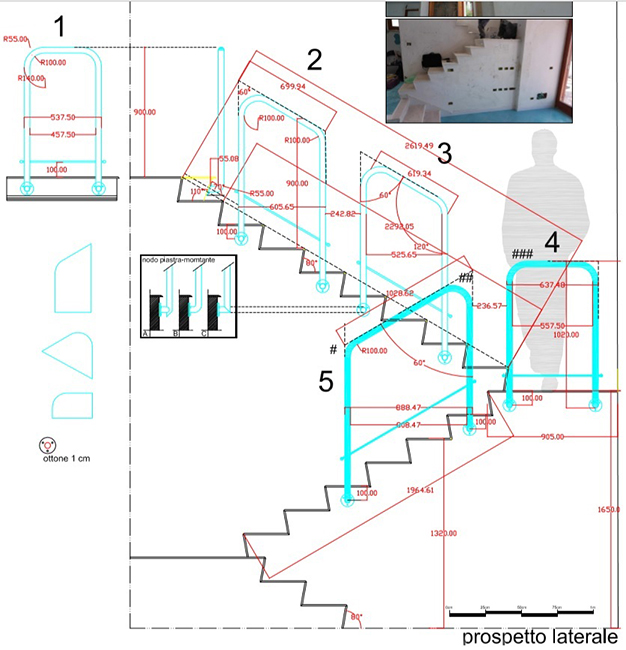Balaustra ottone rosato - Progettazione e realizzazione arredamento in metallo - Brass handrail with warm pinkish tones for luxury design staircases made in Italy